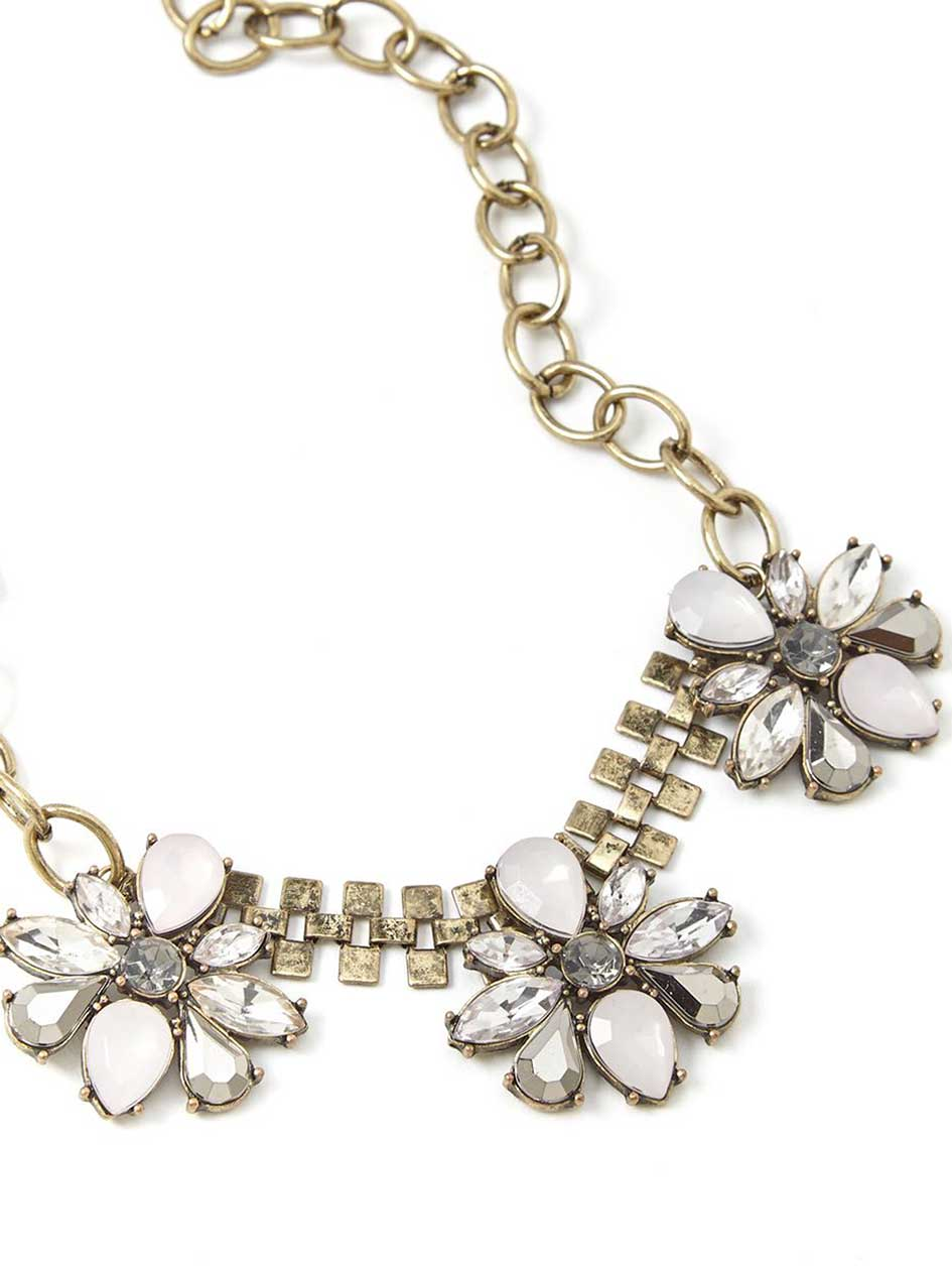 Statement Necklace with Flower Stones
