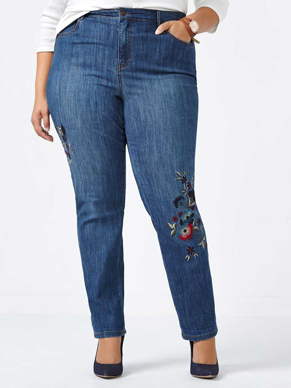 ONLINE ONLY - d/c JEANS Curvy Fit Straight Leg Embroidered Jean