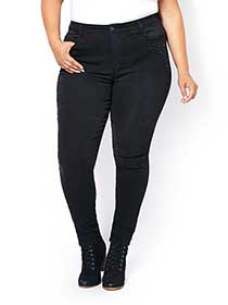 d/c JEANS Petite Slightly Curvy Fit Skinny Black Jean