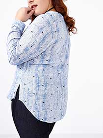 d/c JEANS Long Sleeve Printed Blouse