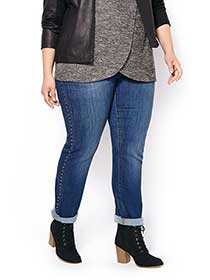 d/c JEANS Straight Fit Straight Leg Jean with Studs