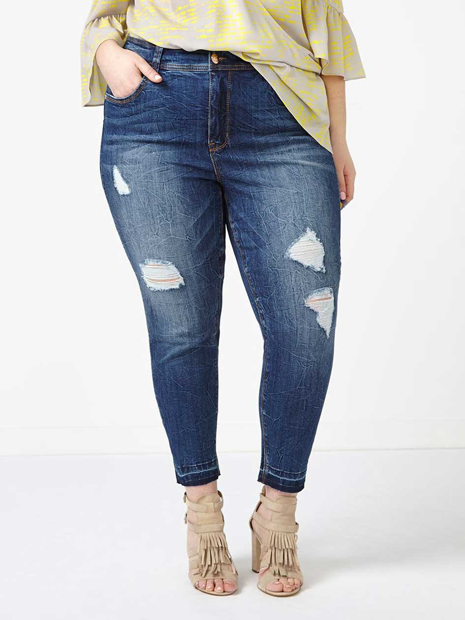 MELISSA McCARTHY Distressed Pencil Ankle Jean