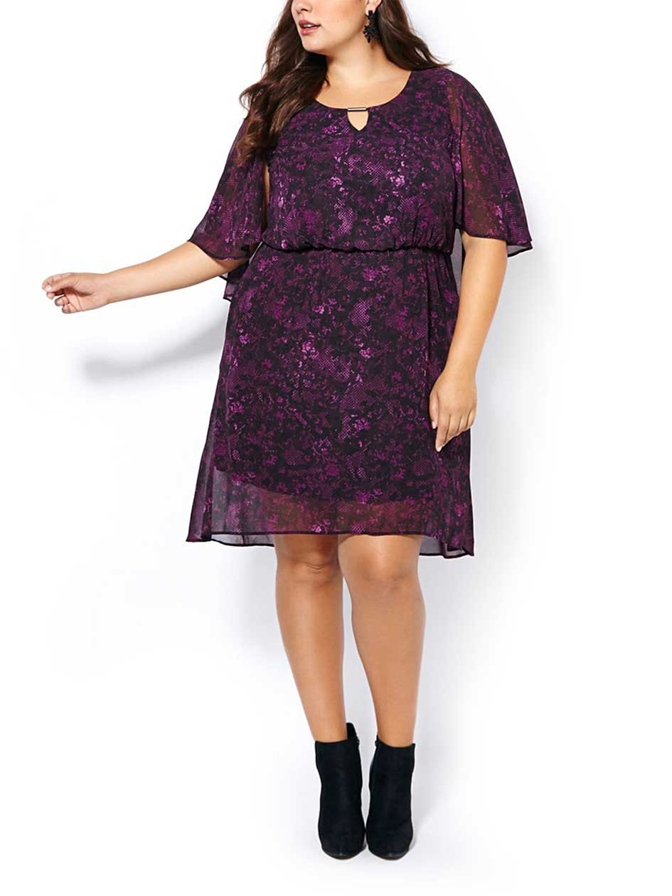 Short Sleeve Dress with Cape