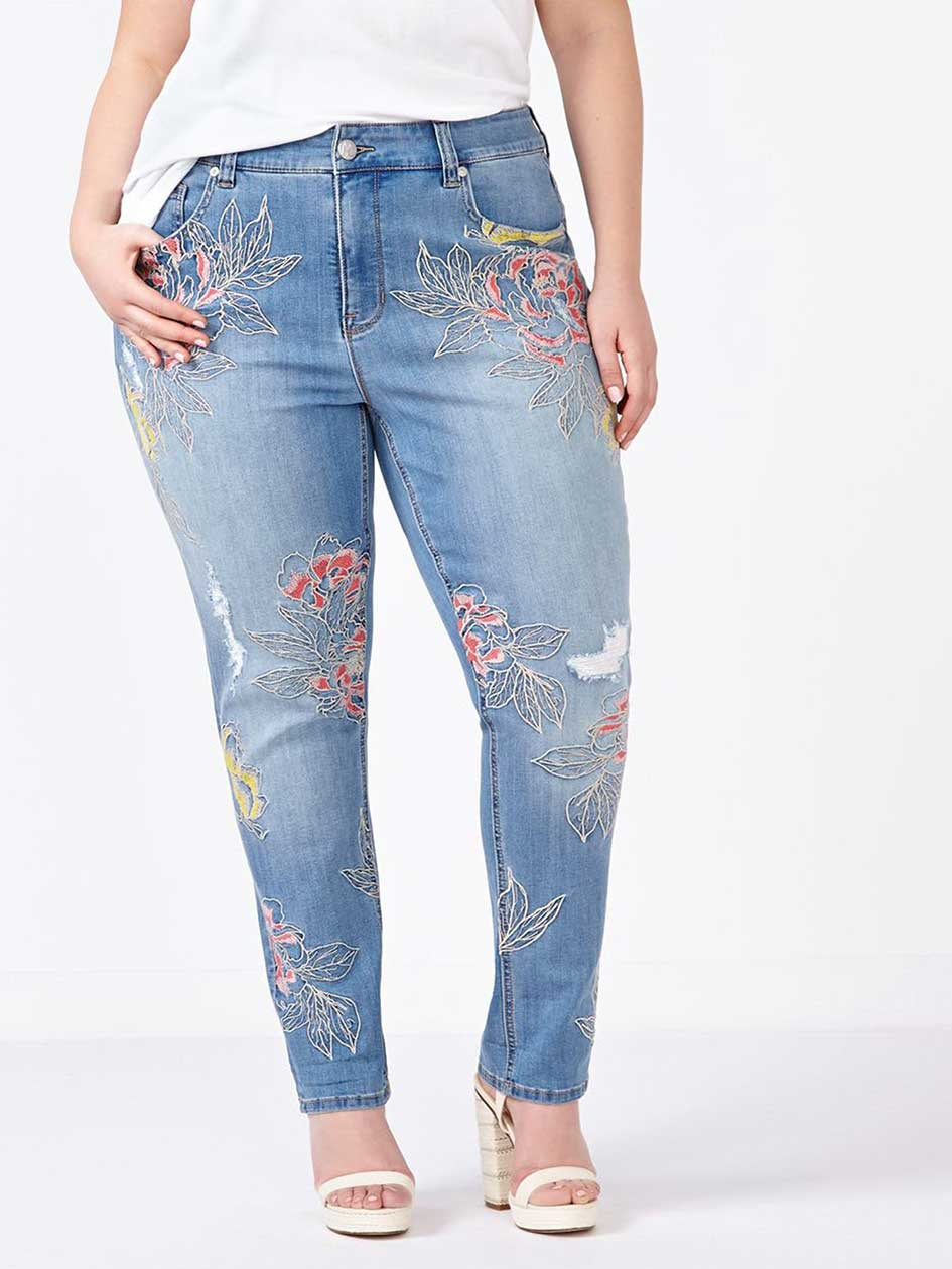 MELISSA McCARTHY Skinny Embroidered Jean