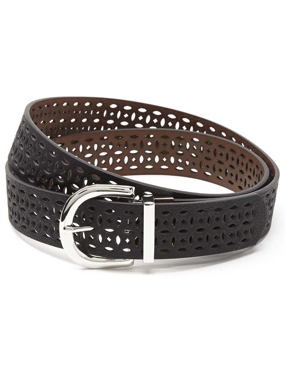 Reversible Perforated Faux-Leather Belt