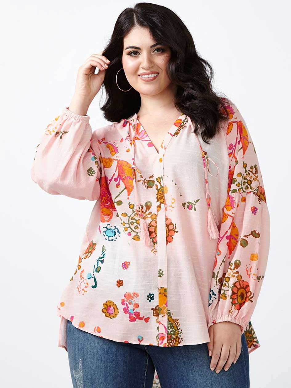 MELISSA McCARTHY Long Sleeve Printed Blouse