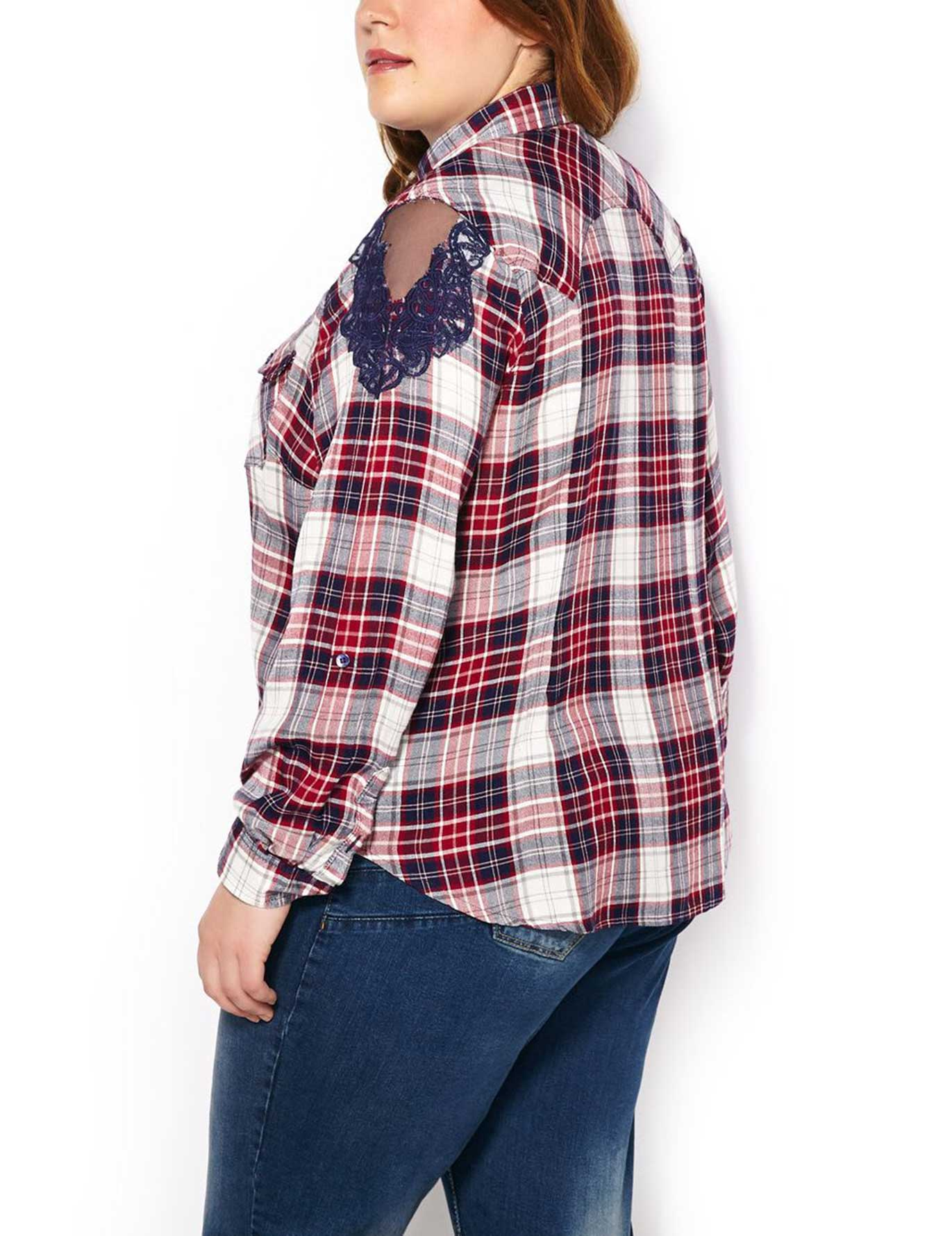Long Sleeve Plaid Shirt With Lace Penningtons