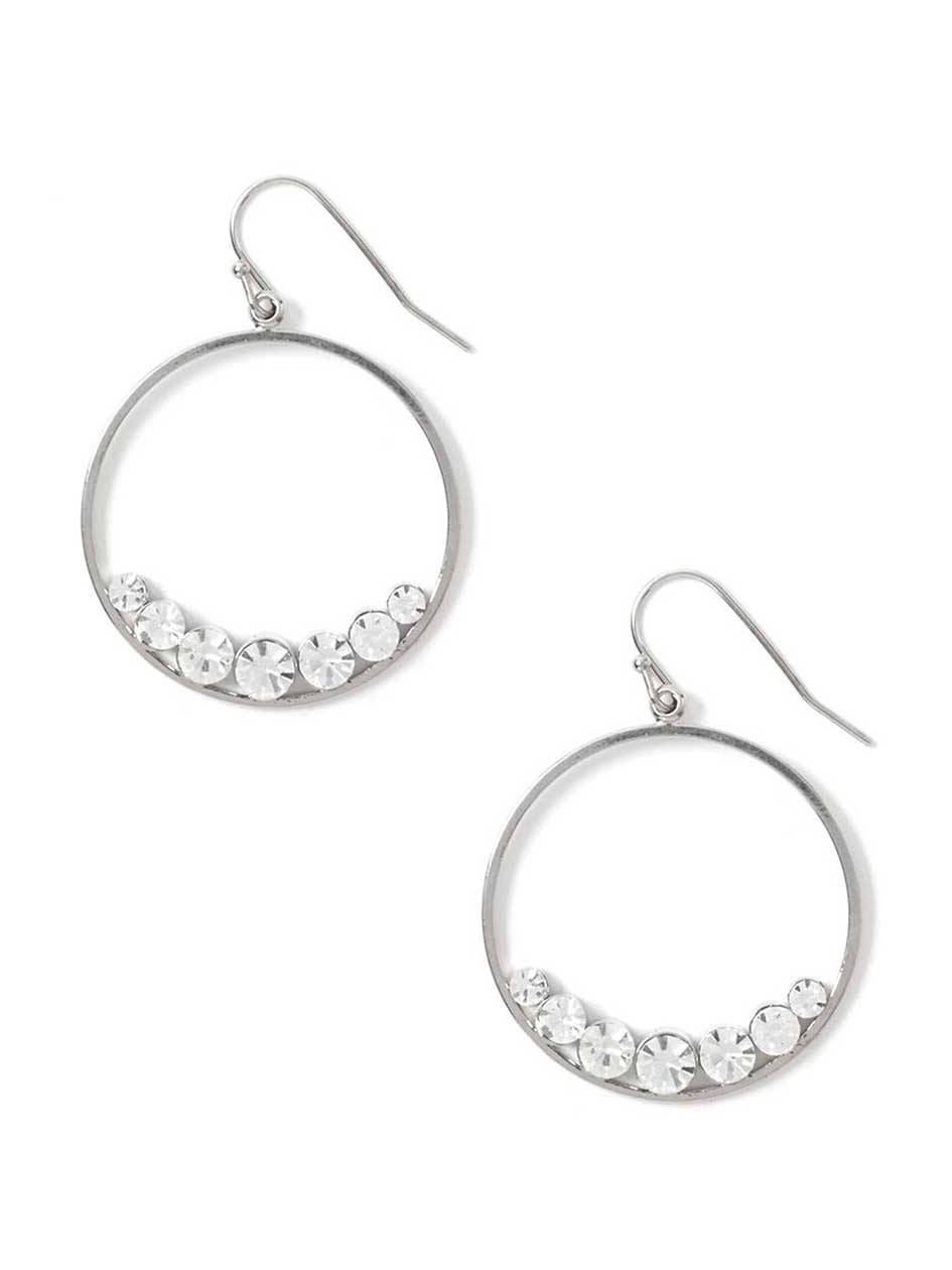 Hoop Earrings with Crystal Stones