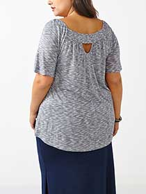 d/c JEANS Smocked Off Shoulder Top