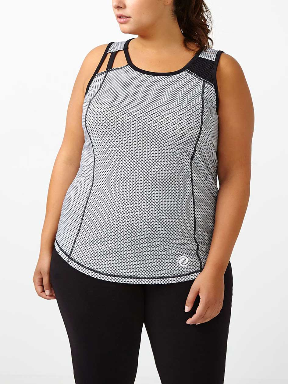 Athleisure - Plus-Size Printed Tank Top with Mesh
