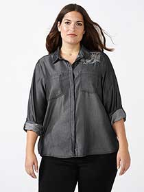 d/c JEANS Grey Denim Shirt with Beaded Pattern