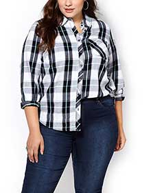 d/c JEANS Long Sleeve Plaid Shirt