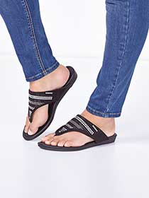 Wide-Width Studded Sandals