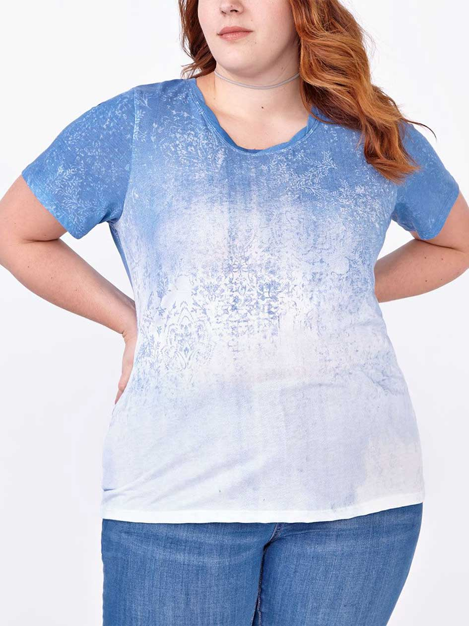 Shaped Fit Ombré Print T-Shirt