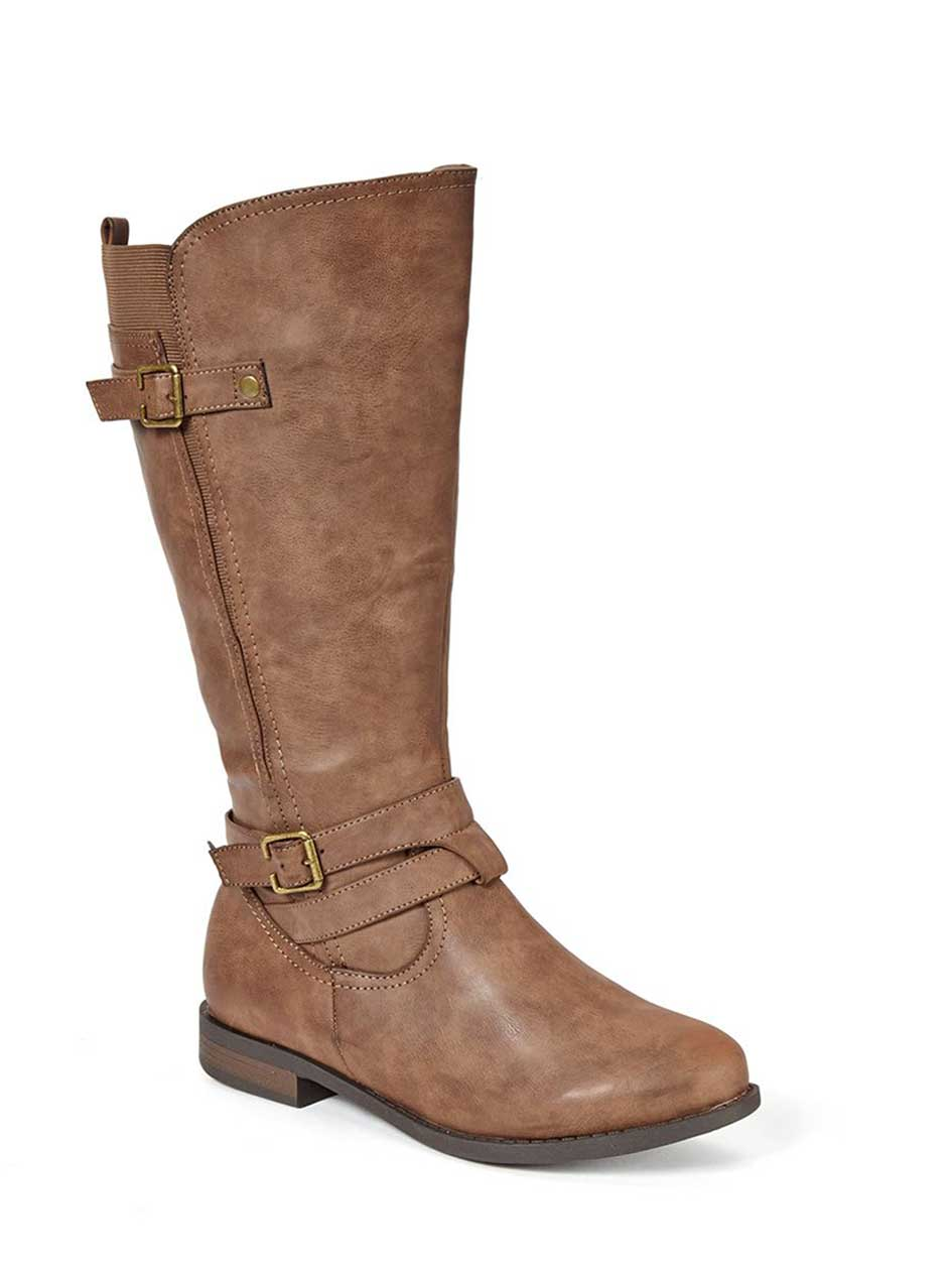 Wide-Width Tall Faux-Leather Boots with Buckle
