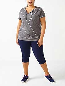 Essentials - Plus-Size Capri Legging with Mesh