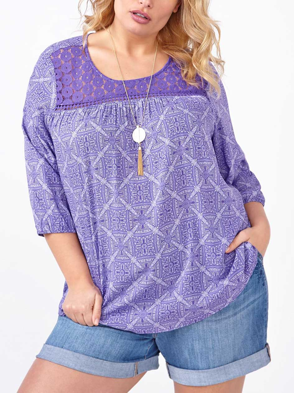 d/c JEANS 3/4 Sleeve Printed Blouse with Crochet