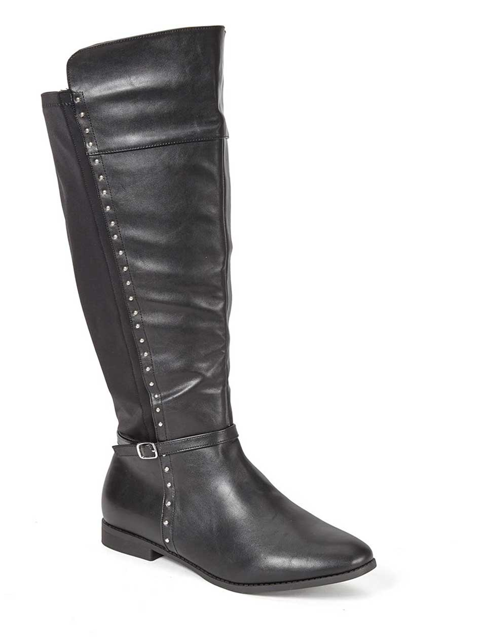 Wide-Width Faux-Leather Tall Boots