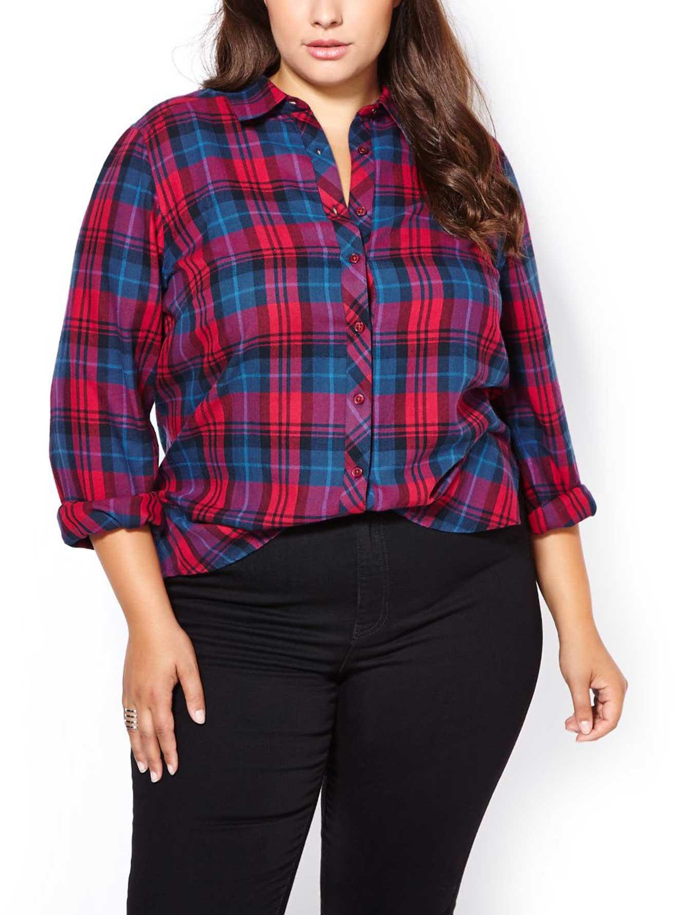 D c jeans long sleeve flannel plaid shirt penningtons for Long plaid flannel shirt