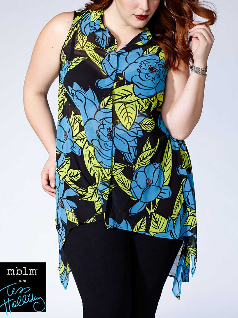 Tess Holliday - Sleeveless Printed Blouse