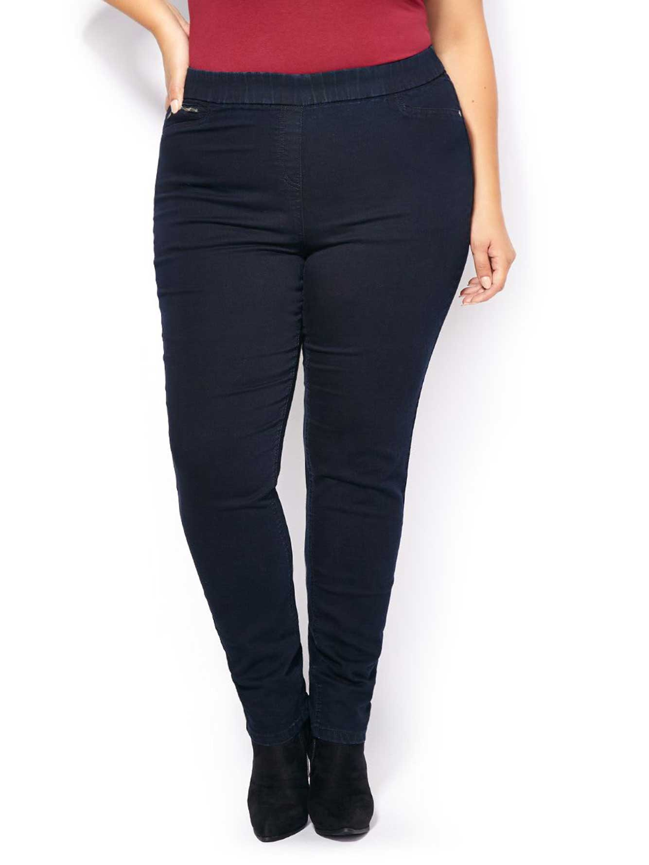 Enjoy comfort and flexibility in these skinny jeggings. Stretchy material shapes to your body and allows you to move freely. Two back pockets. Zipper closure.