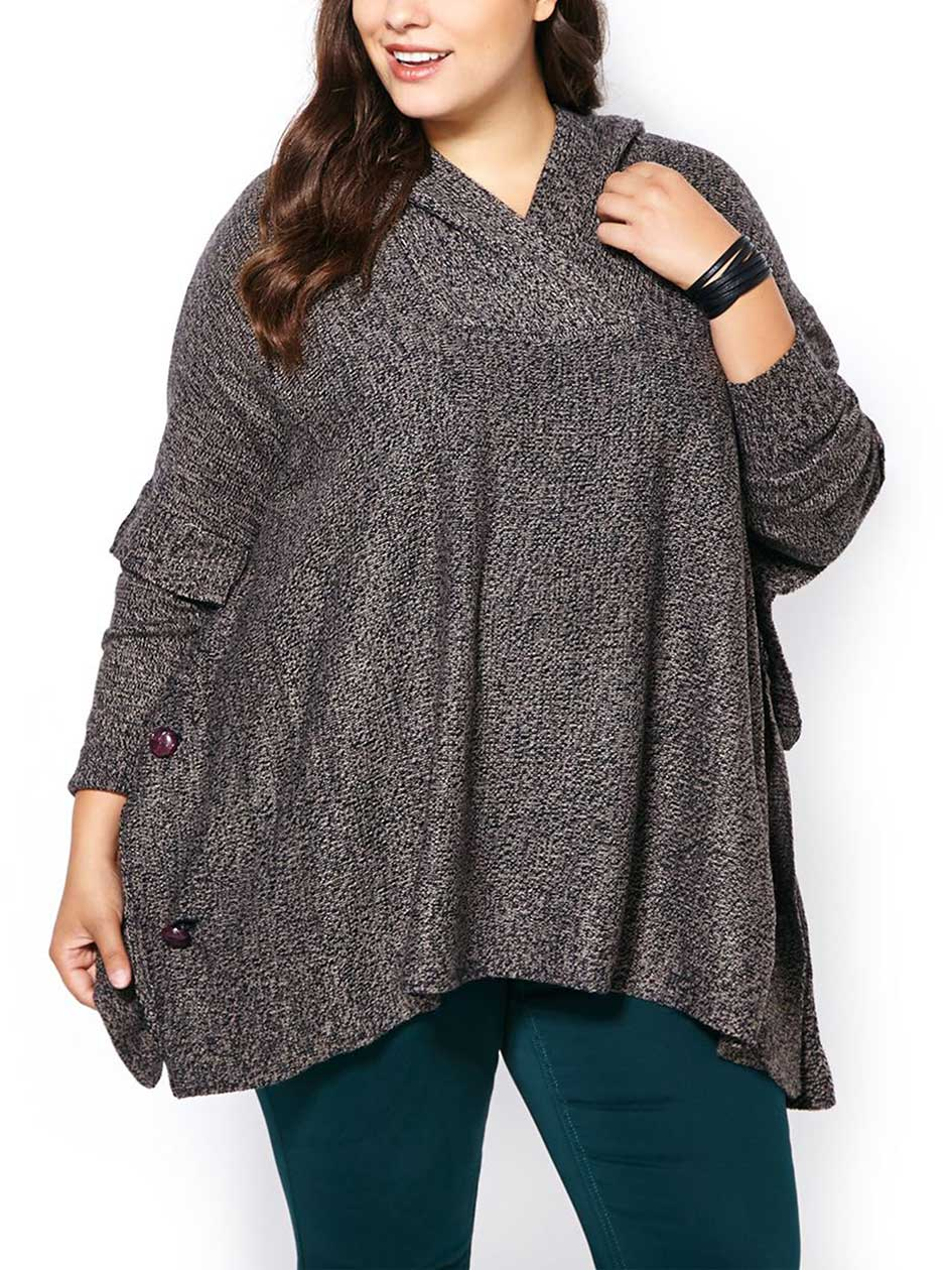 Long Sleeve Hooded Poncho Sweater