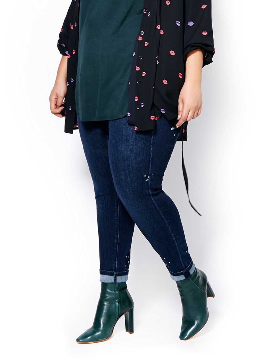 MELISSA McCARTHY Pencil Jean with Paint Splatter
