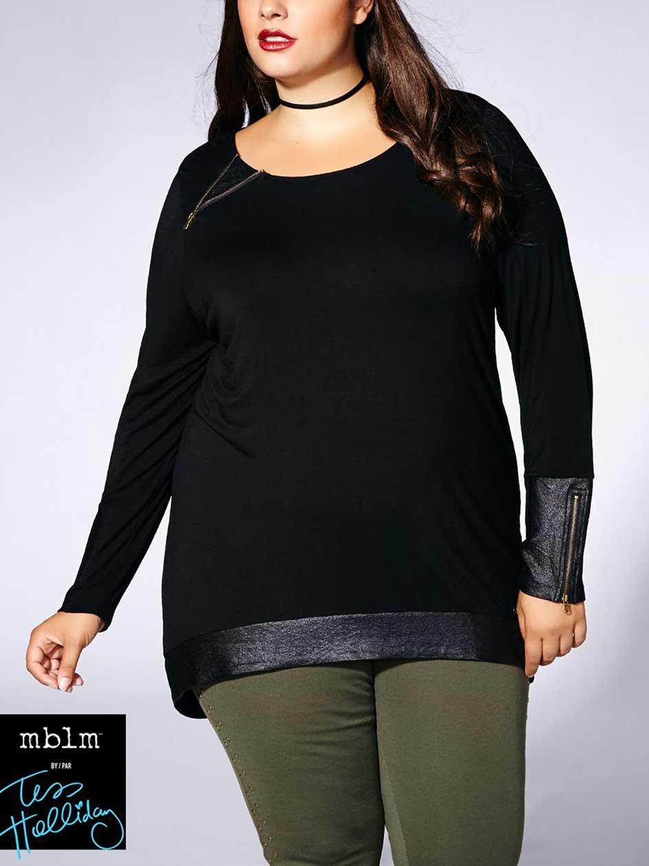 Tess Holliday - Long Sleeve High Low Top with Faux-Leather