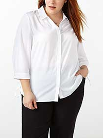 3/4 Sleeve White Button Up Shirt