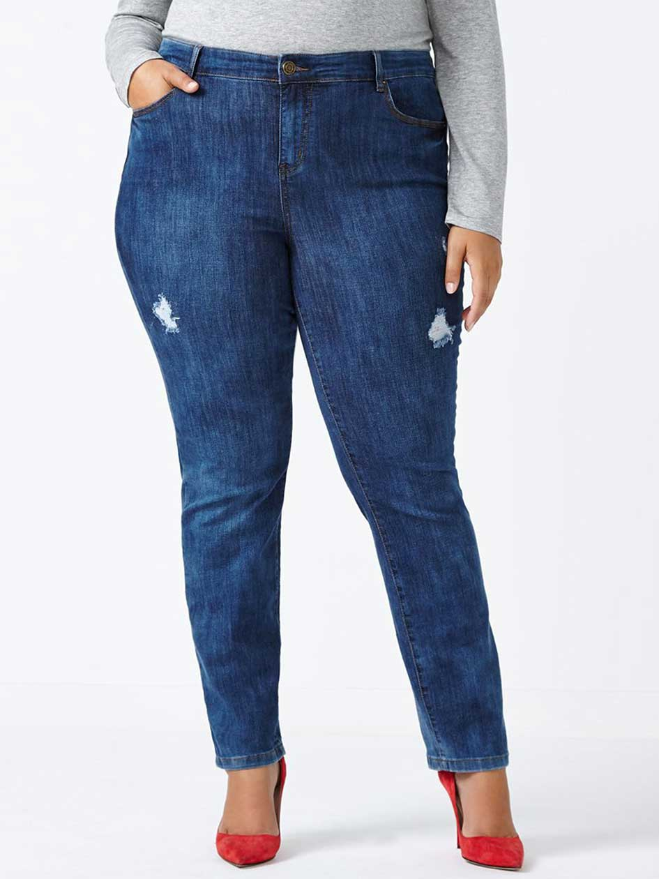 ONLINE ONLY - d/c JEANS Petite Straight Fit Straight Leg Distressed Jean
