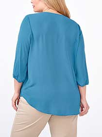 3/4 Sleeve Embroidered Blouse