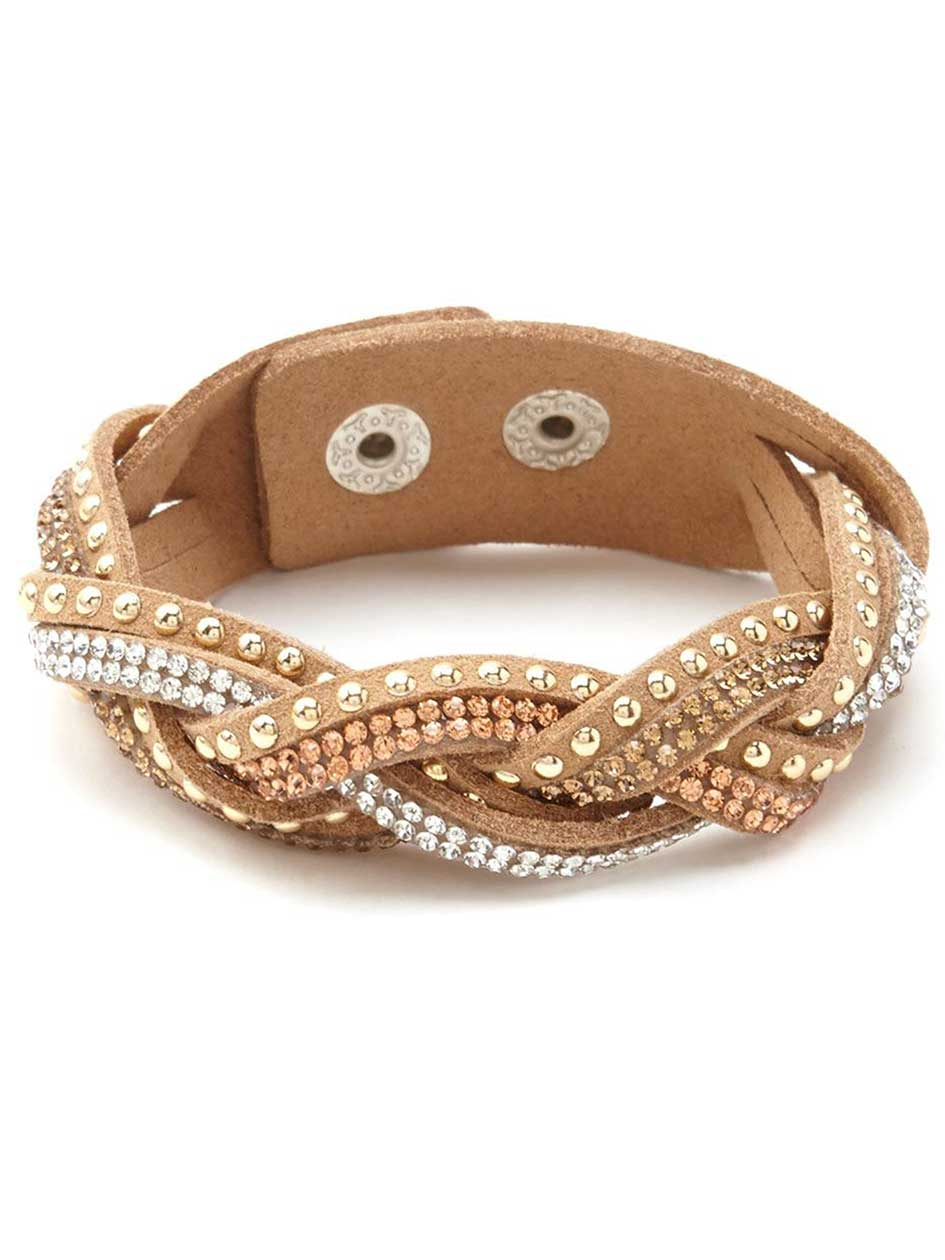 Braided Faux-Suede Bracelet with Rhinestones