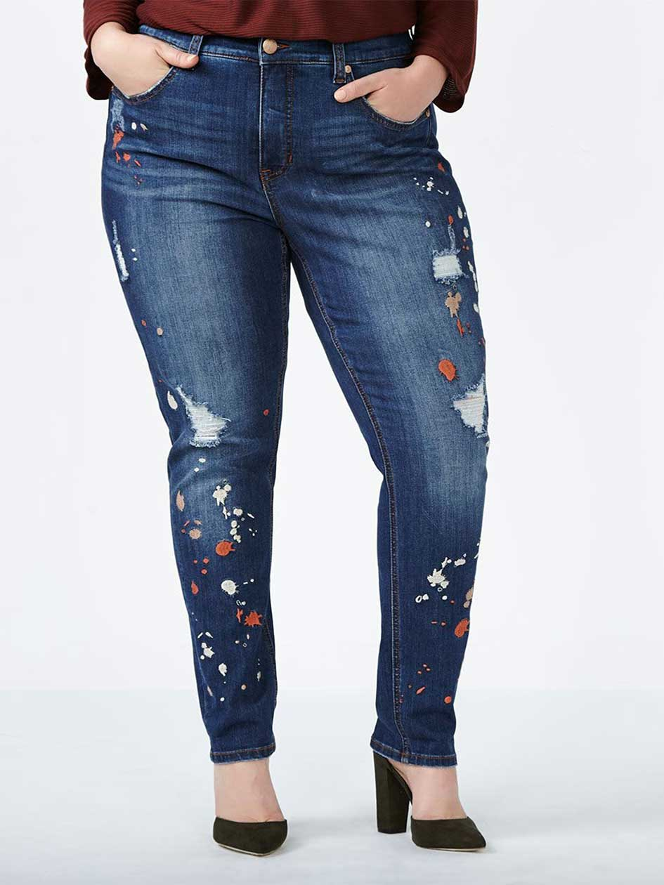 MELISSA McCARTHY Skinny Jean with Paint Splatter