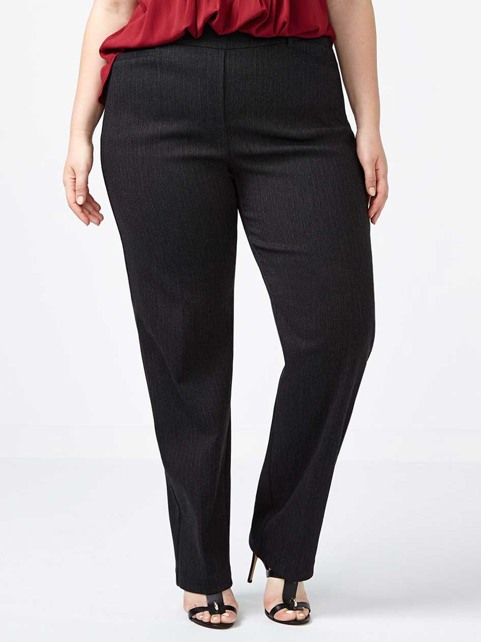 Petite Savvy Straight Leg Striped Twill Pant