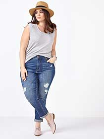 MELISSA McCARRTHY Straight Leg Distressed Jean