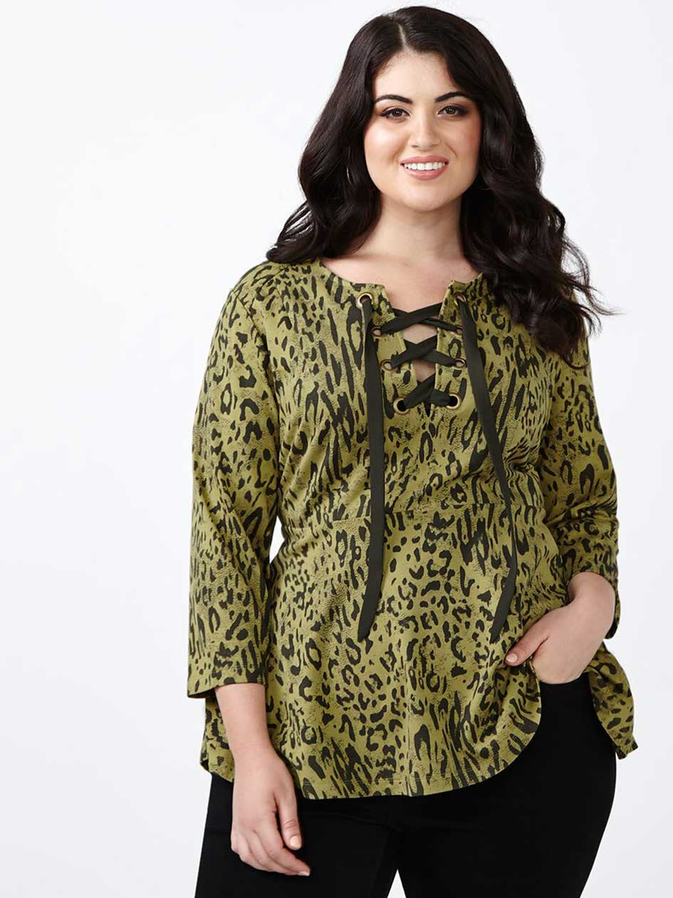 MELISSA McCARTHY Lace Up Peplum Top