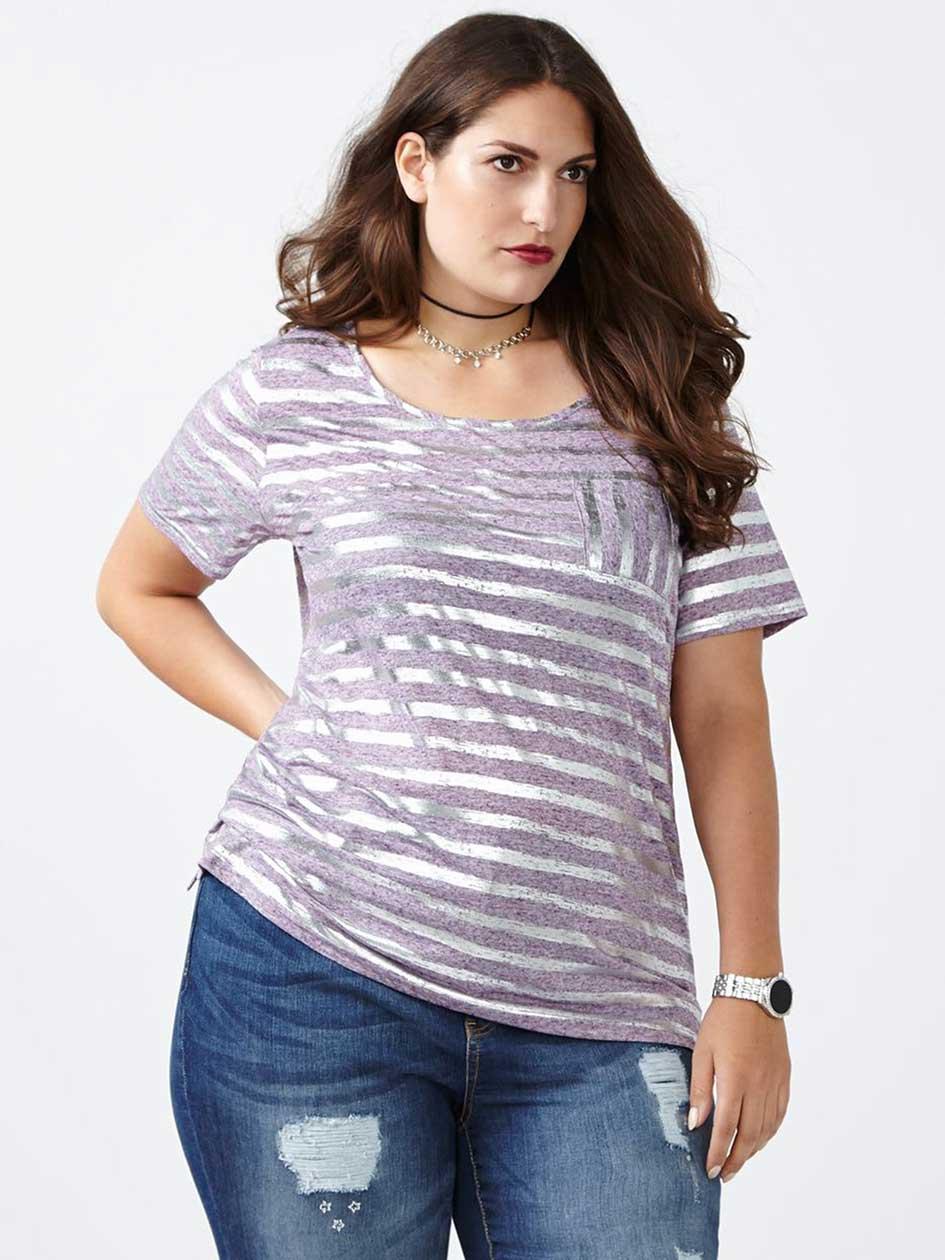 Curve Fit Foil Print T-Shirt