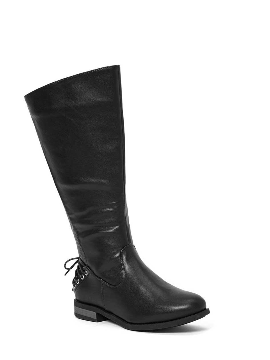 Lace Up Wide-Width Faux-Leather Boots