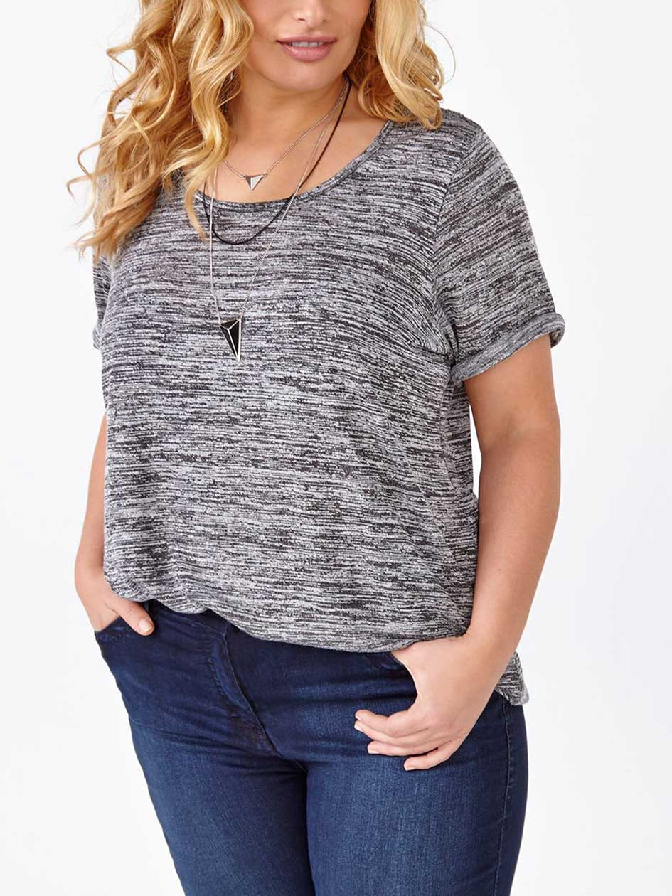 Relaxed Fit Knit T-Shirt with Crochet