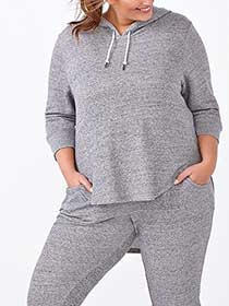 Athleisure - Plus-Size Hooded Pullover