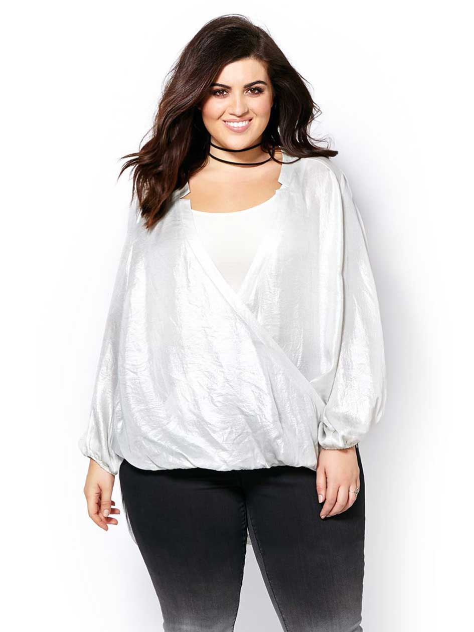 MELISSA McCARTHY Long Sleeve Wrap Blouse