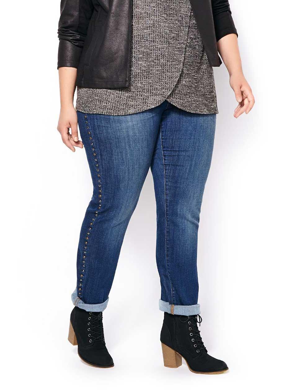 d/c JEANS Straight Fit Straight Leg Jean with Studs.Dark Denim Wash.24