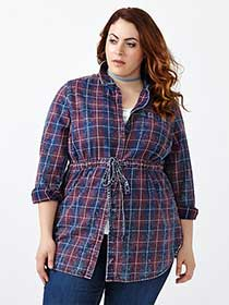 d/c JEANS Belted Plaid Tunic