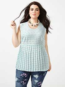 MELISSA McCARTHY Sleeveless Pleated Peplum Top