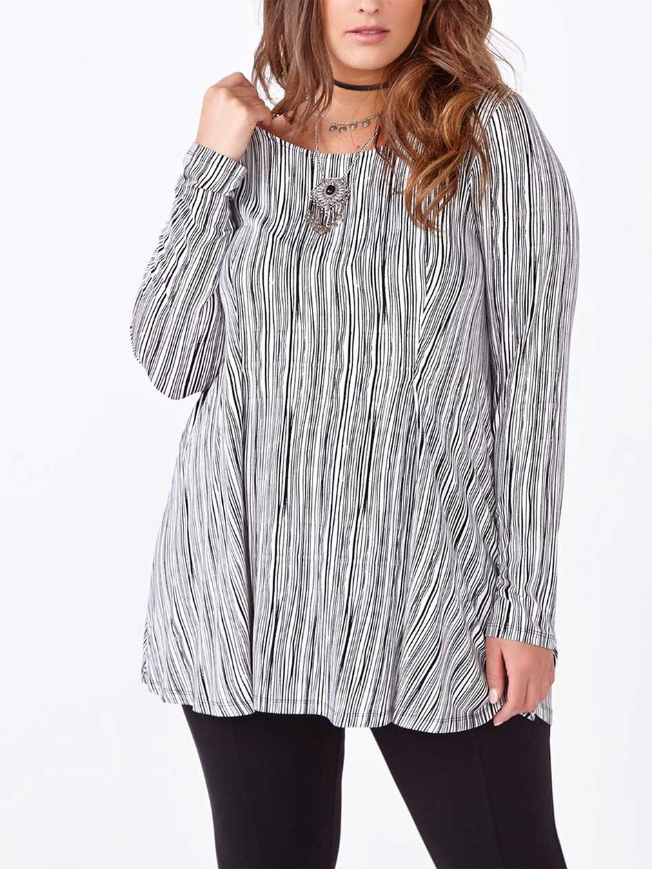 Long Sleeve Printed Swing Top