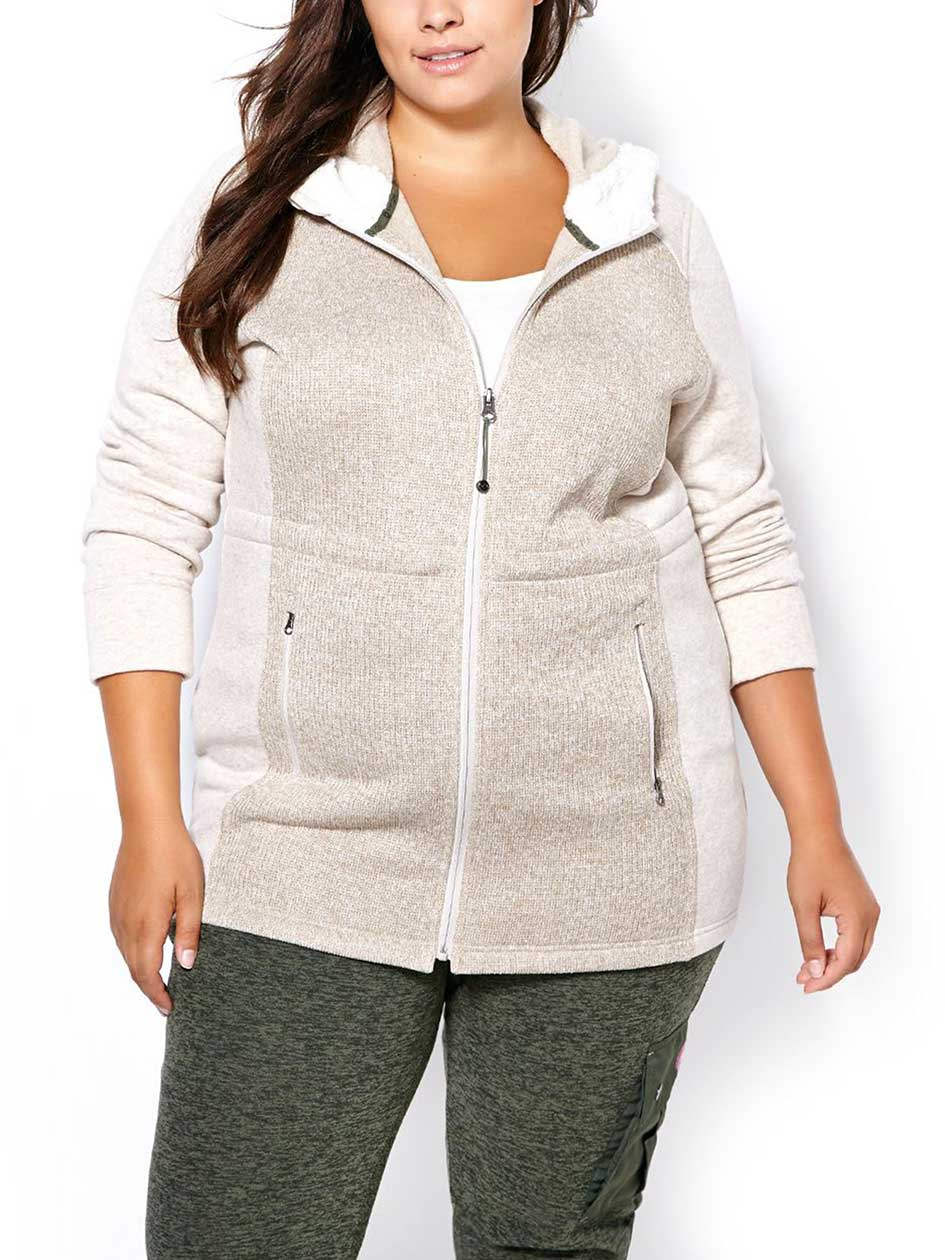 Sports - Long Sleeve Plus-Size Zip Up Hoodie