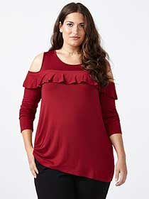 ONLINE ONLY Ruffled Cold Shoulder top