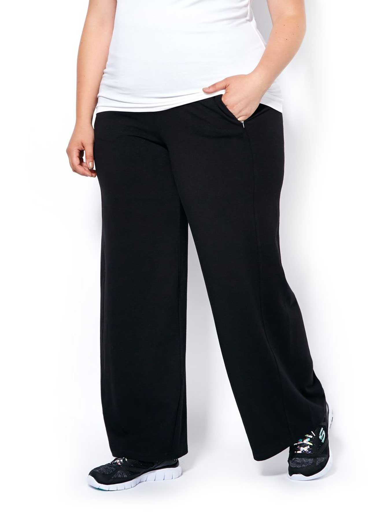 Shop Old Navy's Mid-Rise Wide-Leg Roll-Over Yoga Pants for Women: Elasticized, fold-over waistband.,Smooth, medium-weight jersey, with stretch.,Go-Dry: superior wicking keeps you comfy & dry.