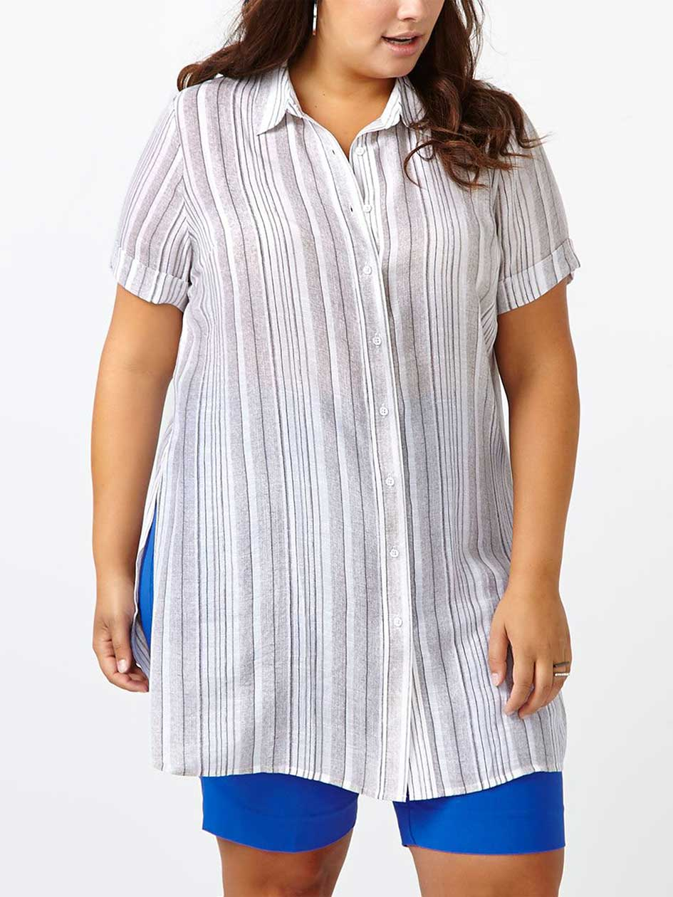 Short Sleeve Striped Button Up Tunic