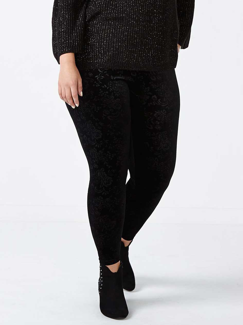 Velvet Printed Legging with Texture
